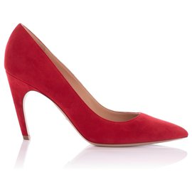 Christian Dior-Christian Dior Red Suede Pointed Toe Pumps-Red