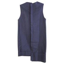 Jacquemus-Striped Asymmetrical Dress-Blue,Navy blue