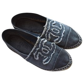 Chanel-Denim Espadrilles with dustbag-Blue