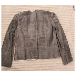 Chanel-Chanel leather jacket-Grey