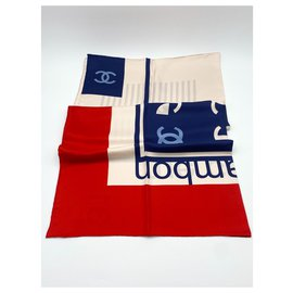 Chanel-Chanel scarf 2021 rue Cambon-Red,Navy blue