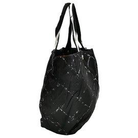 Chanel-Chanel Black Old Travel Line Nylon Tote Bag-Black,White