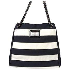 Chanel-Chanel Black Reissue Nylon Tote Bag-Black,White