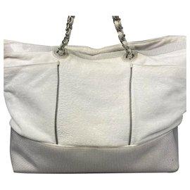 Chanel-Chanel White CC Cotton Tote Bag-White