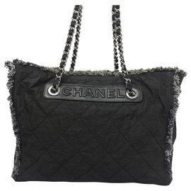 Chanel-Chanel Black Matelasse Fringe Canvas Tote Bag-Black