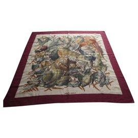 Hermès-carré hermès par Henri de L inarès retour de chasse en cachemire et soie 90-Autre
