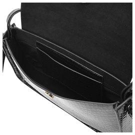 Loeffler Randall-Maggie Bag in Black Shiny Croc-Embossed Leather-Black