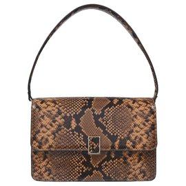 Loeffler Randall-Katalina Bag in Brown Snake-Embossed Leather-Brown
