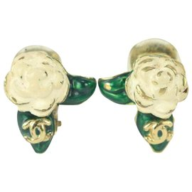 Chanel-04a Gold x White x Green Camellia Rose Flower CC Earrings-Other