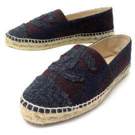 Chanel-NEW CHANEL ESPADRILLES G SHOES29762 40 IN TWEED + NEW SHOES BOX-Dark red
