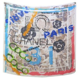 Chanel-NINE CHALE CHANEL CASHMERE SILK LOGO CC COCO CAMELIA SIL CASHMERE SHAWL-Multiple colors