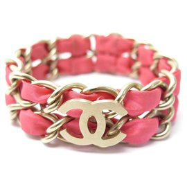 Chanel-CHANEL CC LOGO CHANEL BRACELET PINK LACED CHAIN IN SILVER METAL 16 CM JEWEL CHAIN-Pink