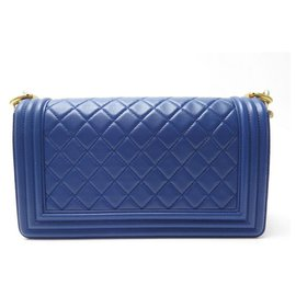 Chanel-NEW CHANEL BOY MEDIUM BLUE PADDED LEATHER BANDOULIERE HAND BAG-Blue