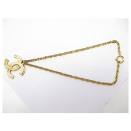 Chanel-VINTAGE CHANEL NECKLACE 1993 CHAIN CC LOGO PENDANT 44CM IN GOLD METAL NECKLACE-Golden