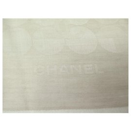 Chanel-NEW CHANEL CC LOGO STOLE IN CASHMERE AND BEIGE SILK SCARF + STOLE BOX-Beige