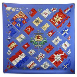 Hermès-HERMES PAVOIS SCARF BY PHILIPPE LEDOUX IN BLUE SILK BLUE SILK SCARF-Blue