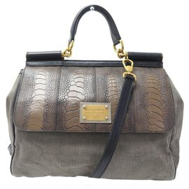 Dolce & Gabbana-HANDBAG DOLCE & GABBANA SICILY GM CANVAS DENIM LEATHER BANDOULIERE HAND BAG-Other