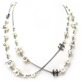 Chanel-CHANEL NECKLACE PEARLS CC LOGO STRASS 118 CM SILVER NECKLACE-Silvery