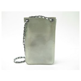 Chanel-CHANEL HANDBAG PHONE POUCH BANDOULIERE LEATHER PATENT PHONE POUCH-Silvery
