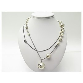 Chanel-CHANEL NECKLACE PEARLS PENDANT CC LOGO STRASS 118 CM NECKLACE-Silvery