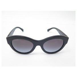 Chanel-Chanel sunglasses 5371 CC LOGO IN BLACK RESIN + SUNGLASSES CASE-Black