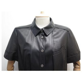 Chanel-CHANEL P JACKET28732  SHORT SLEEVED CAPSULE M BUTTONS 40 black lamb leather-Black