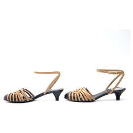 Chanel-Chanel used shoes 36 CAMEL LEATHER SHOES MULES SANDALS-Caramel