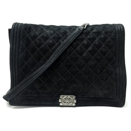 Chanel-NEW CHANEL BOY MAXI JUMBO BLACK QUILTED SUEDE LEATHER HAND BAG-Black
