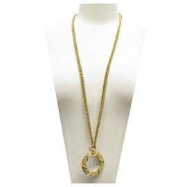 Chanel-VINTAGE CHANEL LOUPE NECKLACE 92 CM METAL DORE GOLDEN MAGNIFYING GLASS NECKLACE-Golden