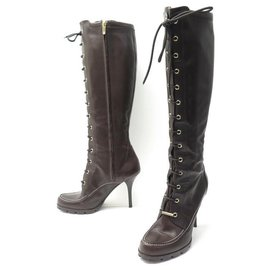 Christian Dior-SHOES CHRISTIAN DIOR LACE-UP BOOTS 39.5 39 BROWN LEATHER BOOTS SHOES-Brown