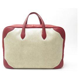 Hermès-VINTAGE SUITCASE HERMES VICTORIA 50 BEIGE CANVAS & RED LEATHER LUGGAGE TRAVEL BAG-Other