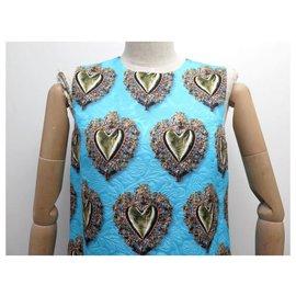 Dolce & Gabbana-NEW DOLCE & GABBANA F DRESS6PF4T 42 It 38 FR M SLEEVELESS HEARTS DRESS-Blue