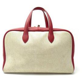 Hermès-VINTAGE HERMES VICTORIA HAND TRAVEL BAG 44CM CANVAS BEIGE RED LEATHER TRAVEL BAG-Other