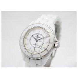 Chanel-Chanel J watch12 H1629 automatic 38 MM WHITE CERAMIC DIAMONDS WATCH-White