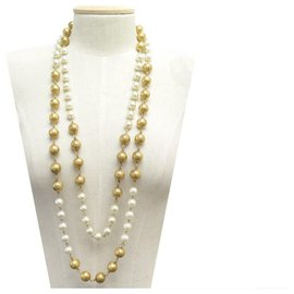 Chanel-VINTAGE CHANEL NECKLACE PEARL NECKLACE 91 CM IN GOLD METAL PEARLS NECKLACE-Golden
