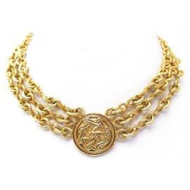Chanel-NEW VINTAGE CHANEL NECKLACE RAS DU NECK MEDALLION GOLD METAL CHAIN NECKLACE-Golden