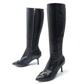 Louis Vuitton-LOUIS VUITTON SHOES CANDICE HEEL BOOTS 36 LEATHER LOGO LV BOOTS-Black