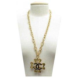 Chanel-CHANEL TREFLE NECKLACE 1994 LOGO CC SAUTOIR 74 CLOVER NECKLACE GOLD METAL CM-Golden