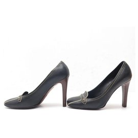 Louis Vuitton-LOUIS VUITTON SHOES PUMPS 35.5 BLACK LEATHER BLACK LEATHER PUMP SHOES-Black