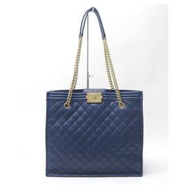 Chanel-CHANEL CABAS SHOPPING BOY BLUE QUILTED LEATHER HAND BAG-Blue