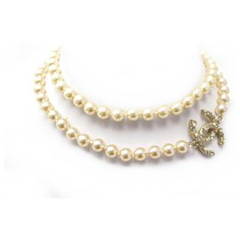 Chanel-NEW CHANEL NECKLACE PEARLS & CC LOGO STRASS 80 CM NEW NECKLACE-Beige