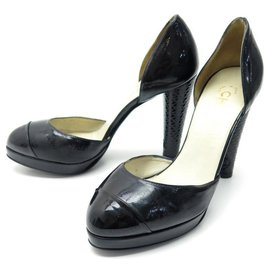 Chanel-CHANEL D'ORSAY G SHOES26202 38 BLACK PATENT LEATHER PUMP SHOES-Black