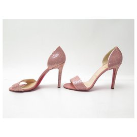 Christian Louboutin-NEW CHRISTIAN LOUBOUTIN SHOES HEEL SANDALS 40.5 PINK SEQUIN SHOES-Pink