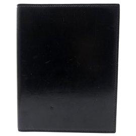 Hermès-VINTAGE AGENDA HOLDER NOTEBOOK HERMES LEATHER BOX BLACK DUPRE LAFON LEATHER DIARY COVER-Black