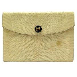 Hermès-VINTAGE HERMES RIO HANDLE BAG IN BEIGE LIZARD CLUTCH LEATHER-Beige