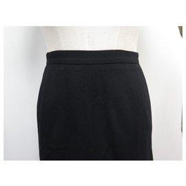Chanel-JUPE FENDUE CHANEL P07235 M 40 EN LAINE NOIR BLACK WOOL SLIT SKIRT-Noir