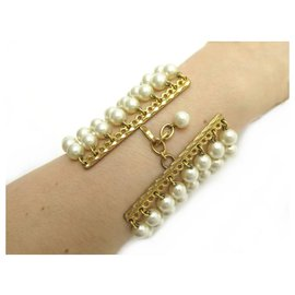 Chanel-VINTAGE CHANEL BRACELET 8 ROWS OF PEARLS VICTORY OF CASTELLANE PEARLS JEWEL-Golden