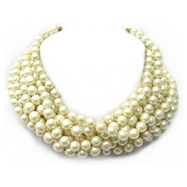 Chanel-VINTAGE CHANEL NECKLACE 9 ROWS OF PEARLS VICTORY OF CASTELLANE PEARL NECKLACE-Golden
