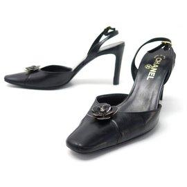 Chanel-CHANEL SHOES SLINGBACK CAMELIA PUMPS 36.5 BLACK LEATHER PUMP SHOES-Black
