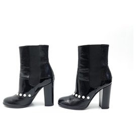 Chanel-CHANEL G SHOES30160 37C IT 36 FR BLACK PATENT LEATHER ANKLE BOOTS-Black